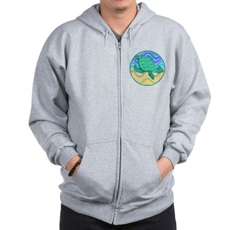 Turtle On Beach Zip Hoodie