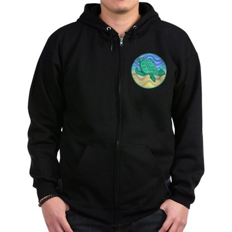 Turtle On Beach Zip Hoodie (dark)