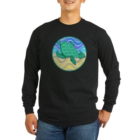 Turtle On Beach Long Sleeve Dark T-Shirt