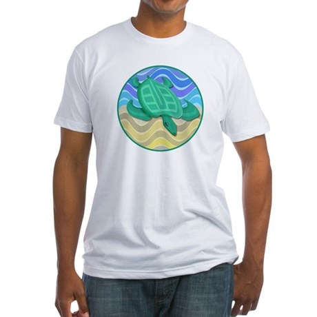 Turtle On Beach Fitted T-Shirt