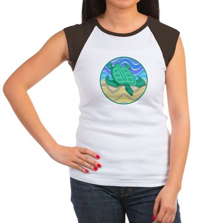 Turtle On Beach Women's Cap Sleeve T-Shirt