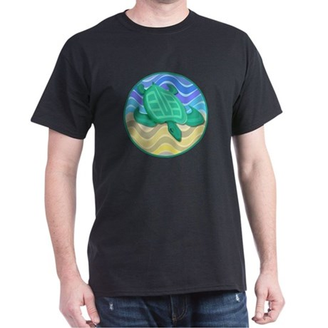 Turtle On Beach Dark T-Shirt