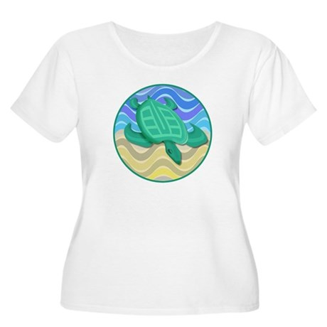 Turtle On Beach Women's Plus Size Scoop Neck T-Shi