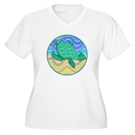 Turtle On Beach Women's Plus Size V-Neck T-Shirt