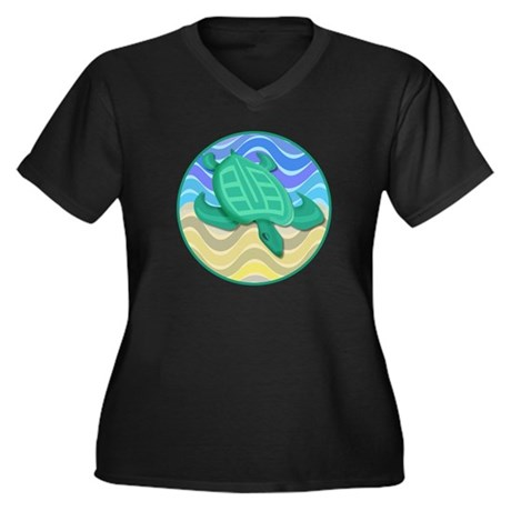 Turtle On Beach Women's Plus Size V-Neck Dark T-Sh