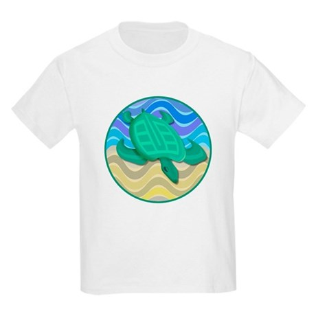 Turtle On Beach Kids Light T-Shirt
