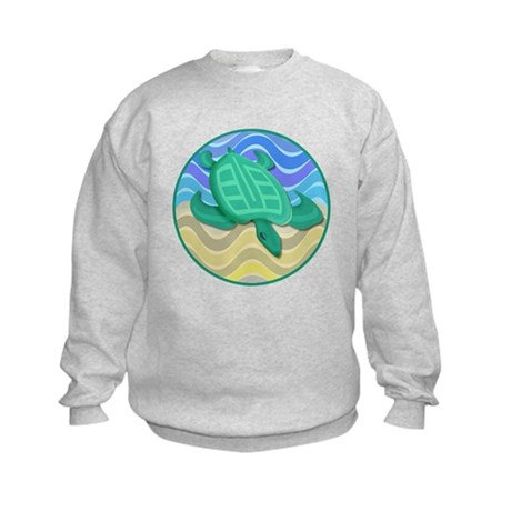 Turtle On Beach Kids Sweatshirt