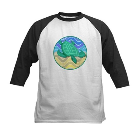 Turtle On Beach Kids Baseball Jersey