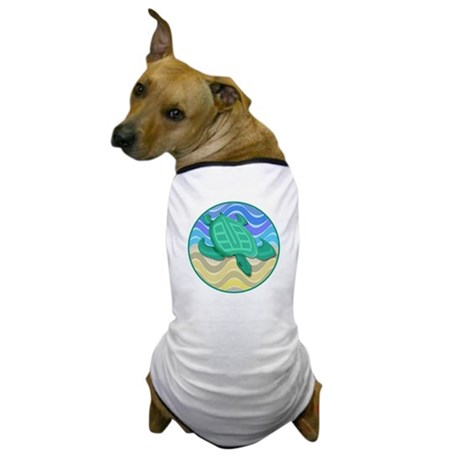 Turtle On Beach Dog T-Shirt