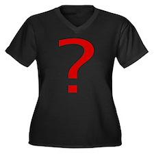 Question Mark Women's Plus Size V-Neck Dark T-Shir