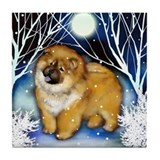 CHOW CHOW DOG WINTER NIGHT Tile Coaster