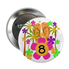 Luau 8th Birthday Button