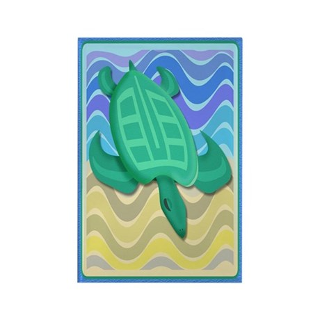Turtle On Beach Rectangle Magnet