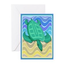 Turtle On Beach Greeting Cards (Pk of 20)