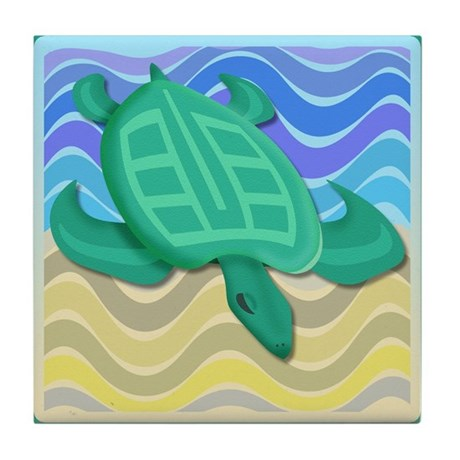Turtle On Beach Tile Coaster