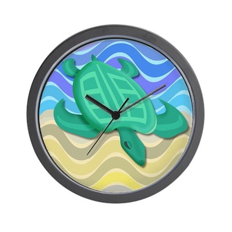 Turtle On Beach Wall Clock