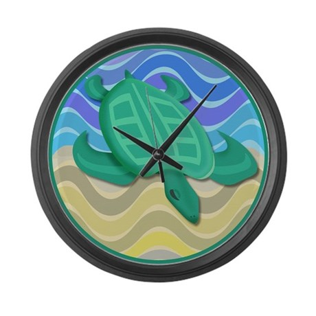 Turtle On Beach Large Wall Clock