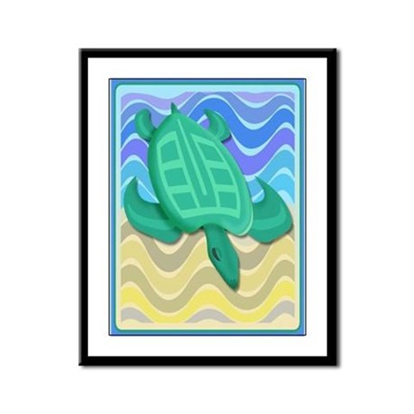 Turtle On Beach Framed Panel Print