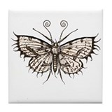 antique gothic moth Tile Coaster
