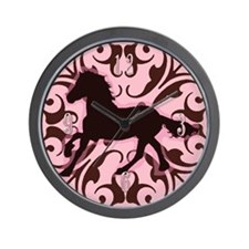Pink & Brown Fancy Horse Wall Clock