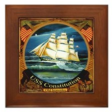 Beautiful USS Constitution Ship Framed Tile