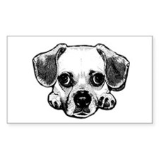 Black & White Puggle Rectangle Sticker 10 pk)