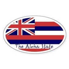 Hawaii Flag Decal Oval Bumper Stickers