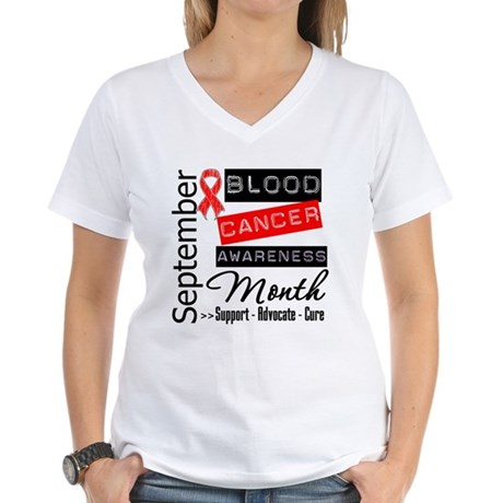 Blood Cancer Month v3 Women's V-Neck T-Shirt