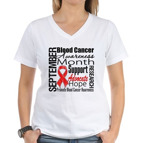 Blood Cancer Month v2 Women's V-Neck T-Shirt