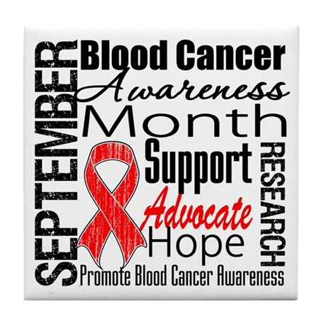 Blood Cancer Month v2 Tile Coaster