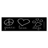 Peace Love Dogs Bumper Sticker (10 pk)