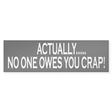 Actually No One Owes You Crap Bumper Bumper Sticker