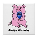 HAPPY BIRTHDAY PINK PIG Tile Coaster