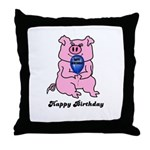 HAPPY BIRTHDAY PINK PIG Throw Pillow