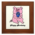 HAPPY BIRTHDAY PINK PIG Framed Tile