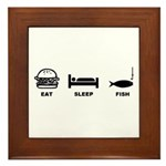 eat sleep fish Framed Tile
