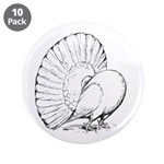 """Fantail Pigeon 3.5"""" Button (10 pack)"""