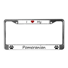 I Love My Pomeranian License Plate Frame
