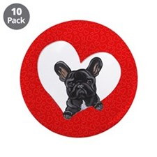 "Black Frenchie Lover 3.5"" Button (10 pack)"