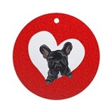 Black Frenchie Lover Ornament (Round)