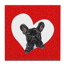 Black Frenchie Lover Tile Coaster