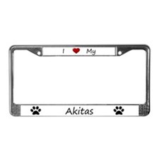 White I Love My Akitas License Plate Frame