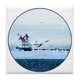 Cute Coast guard ships Tile Coaster