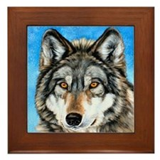 Painted Wolf Framed Tile