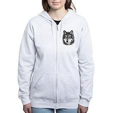 Painted Wolf Grayscale Zip Hoodie