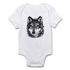 Painted Wolf Grayscale Infant Bodysuit