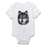 Painted Wolf Grayscale Onesie
