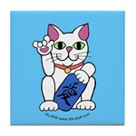 ILY Neko Cat Blue Tile Coaster
