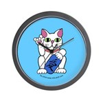 ILY Neko Cat Blue Wall Clock