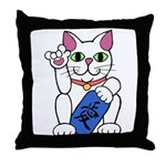 ILY Neko Cat Throw Pillow